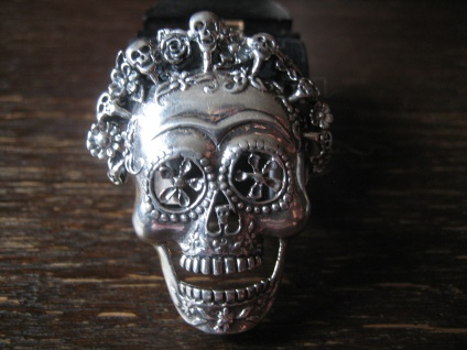 prächtig verzierter Dia de los Muertes Totenkopf Ring 925er Silber NEU RG 61