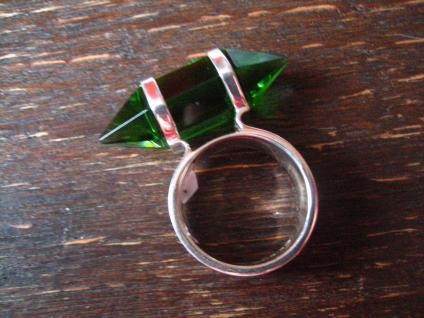 Traum Statement Designer Ring turmalin grün 925er Silber grüner Obsidian RG 60 - Vorschau 4