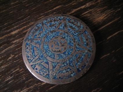 Brosche Anhänger Mayakalender Maya Azteken Kalender 925er Silber Türkis Inlays