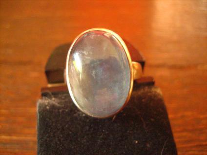 exklusiver vintage Designer Ring 925er Silber feine helle Jade blau RG 56