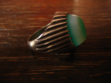 exklusiver Vintage Designer Ring 835er Silber grüner Achat als Auge Unikat RG 62 - Vorschau 3