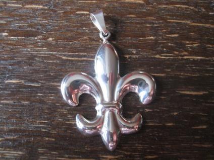 nostalgischer Designer Anhänger französische Lilie Fleur de Lys 925er Silber NEU