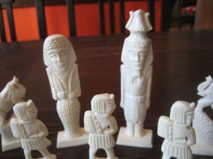 Prächtige vintage Schachfiguren Ägypten aufwändig geschnitzt ägpytische Motive - Vorschau 2