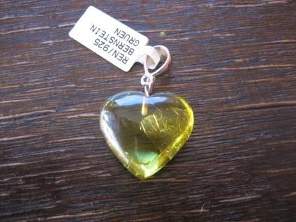 Traum in Giftgrün - Herz Anhänger seltener hell grüner Bernstein 925er Silber