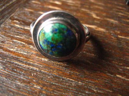 zeitlos eleganter Vintage Designer Ring Azurit Malachit 925er Silber 17, 5 m G 55 - Vorschau 3