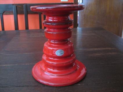 cooler roter Kerzenständer Kerzenleuchter für Stumpenkernen Pop Art Keramik 17 cm