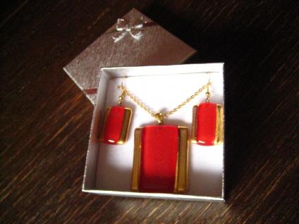 sehr edles Schmuckset Anhänger Ohrringe rot gold NEU Kunsthandwerk Arts & Crafts