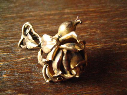 aufwändige antike Rosen Brosche Rose vollplastisch 800er Silber vergoldet gold - Vorschau 4