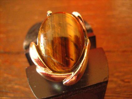 starker vintage Designer Ring 925er Silber schimmerndes Tigerauge RG 55 17, 5 mm