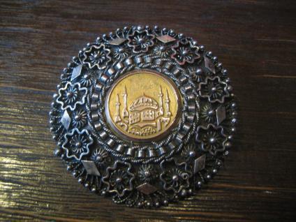 dekorativer Anhänger Brosche Moschee Handarbeit Unikat Türkei 900er Silber