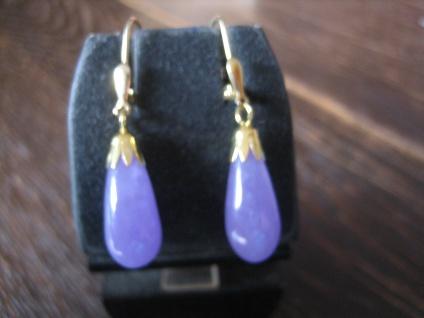 exklusive Ohrringe Hänger Jade Lavendeljade Pampeln 925er Silber vergoldet NEU