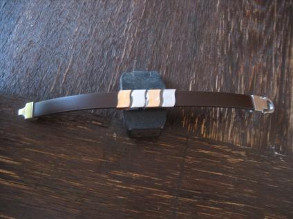 "exklusives Herrenarmband Armband LuxXL ""Him"" 22 cm lang Leder braun Edelstahl"