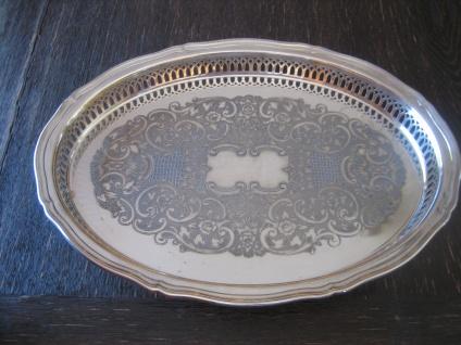 prächtiges Silbertablett Galerietablett Tablett silber pl oval 37 cm Oneida