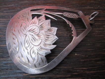 romantischer Jugendstil Anhänger Seerosen Teich 800er Silber reine Handarbeit - Vorschau 2
