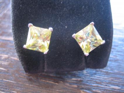 Traum in giftgrün - gelb klassische Ohrringe Stecker Ohrstecker 925er Silber NEU