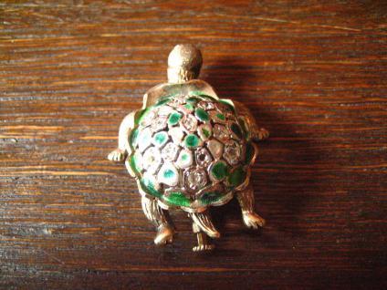 super niedliche Schildkröte vintage Brosche 925er Silber Emaille plastisch - Vorschau 5