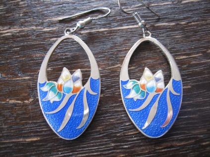 traumhafte vintage Ohrringe Hänger Chandeliers Emaille Seerosen blau silber