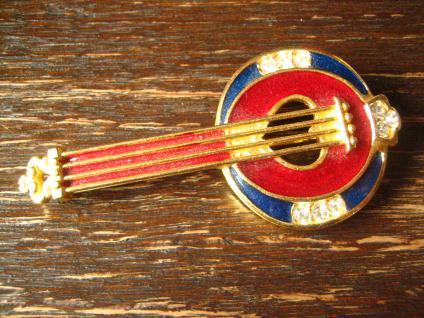 originelle Traum Vintage Brosche Musik Banjo gold Emaille 80er Jahre Modeschmuck - Vorschau 2