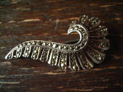 sehr elegante Art Deco Markasit Brosche Feder oder Welle 800er Silber 1930 - Vorschau 2