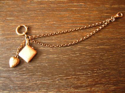 kleine Jugendstil Uhrenkette Chatelaine für DTU mit Herz Anhänger + Medallion