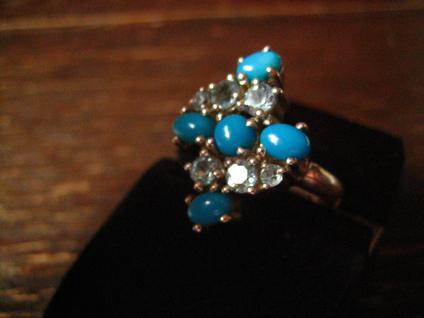 prächtiger vintage Designer Ring Cocktailring 925er Silber Türkis aquamarin blau - Vorschau 3