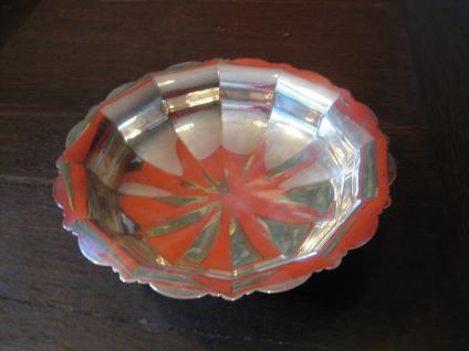 eleganter Art Deco Tafelaufsatz Silberschale Obstschale Schale auf Fuß silber pl