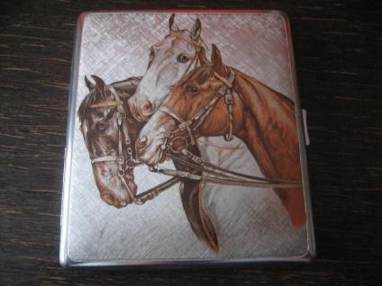 elegantes vintage Zigarettenetui Zigarilloetui silber Pferd Reiter Pferdekopf