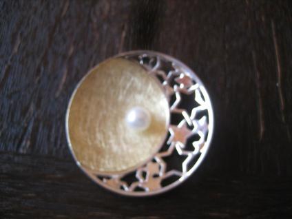 Traum Statement Anhänger Mond Halbmond Sterne Stern Perle 925er Silber gold NEU