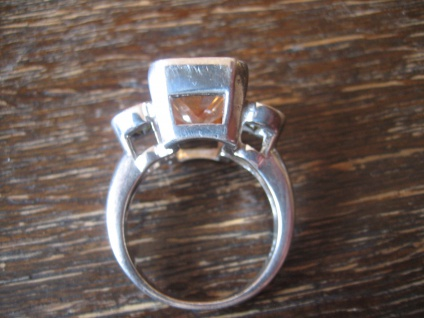 Prächtiger Mandarintopas Peridot Ring im Art Deco Stil 925er Silber RG 56 17, 6 mm - Vorschau 4
