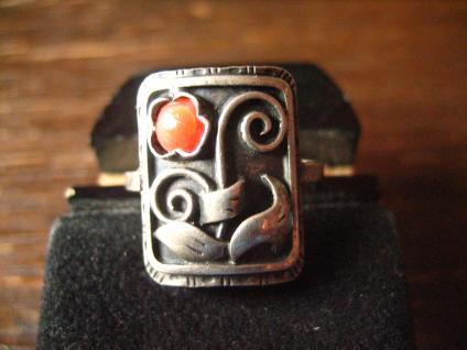 bezaubernd florale Art Deco Ohrringe Stecker 830er Silber rote Koralle Handmade - Vorschau 4