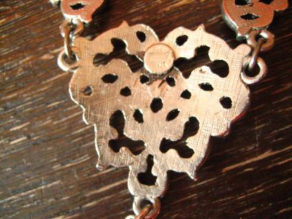 reizvolles Trachten Dirndl Collier im Antik Stil silber rosa Pampel an Erbskette - Vorschau 4