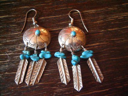 prächtige Türkis Ohrringe 925er Silber Indianer Native Indianerschmuck Navajo