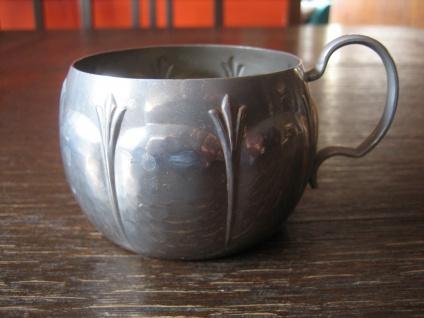 schnuckeliger Silberbecher Teeglashalter witzig als Teelichthalter silber Zinn