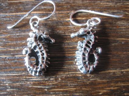 super süße maritime Seepferdchen Ohrringe Hänger 925er Silber neu vollplastisch