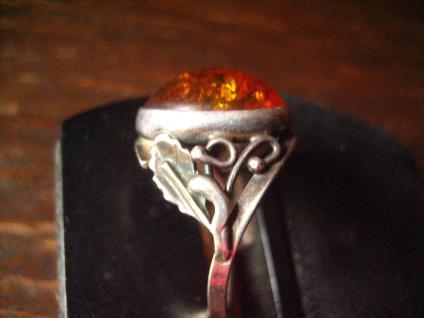 schöner antiker Bernstein Ring 925er Silber mit Eichenlaub Tracht Dirndl RG 58