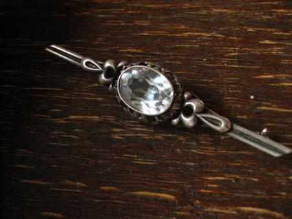 edle Art Deco Krawattennadel Brosche Stabnadel 835er Silber Stein aquamarin blau - Vorschau 2