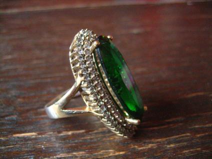 Kronjuwelen gesucht ? atemberaubender turmalin Zirkonia Ring 925er Silber gold - Vorschau 2