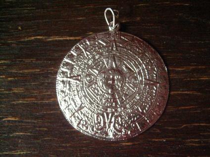 prächtiger großer Anhänger Mayakalender Maya Azteken Kalender 925er Silber 4, 5 cm