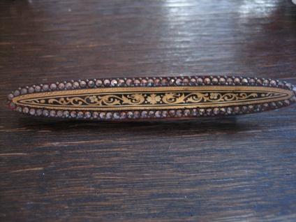 Sammlerstück Rarität Lucite Brosche Stabnadel mit inkrustierten Markasiten gold