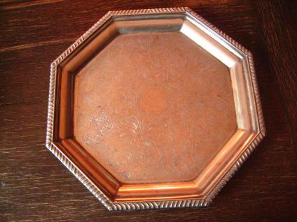 reich verziertes großes Silbertablett Tablett silber pl England 8eckig 33 cm