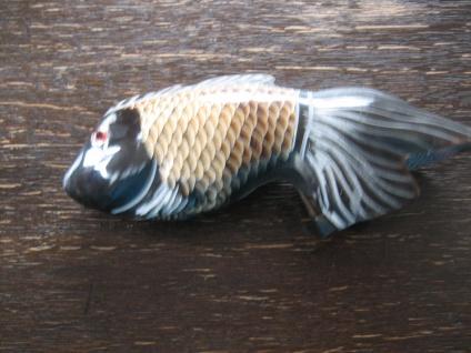 Fisch Goldfisch Schleierfisch Koi Horn geschnitzt bemalt Handarbeit Unikat