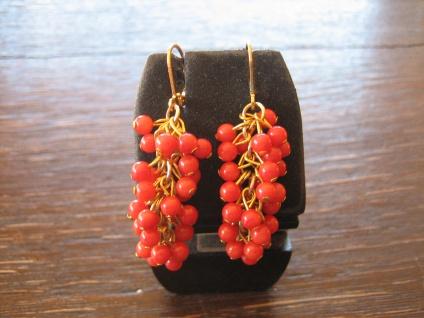 Prächtige Ohrringe Hänger Rote Koralle 925er S. gold bewegliche Trauben NEU