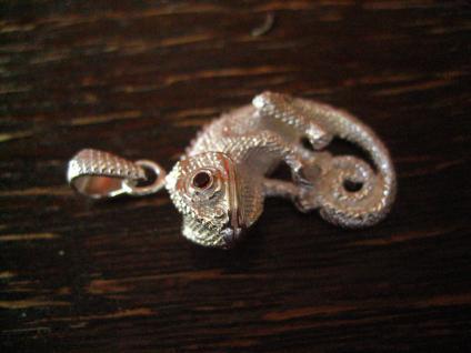 traumhafter Chamäleon Anhänger massiv 925er Silber plastisch wie lebensecht - Vorschau 2