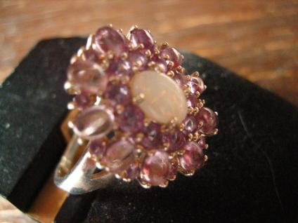prächtiger vintage Designer Ring Cocktailring 925er Silber Opal Farbsteine lila