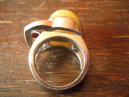 extravaganter schwerer Designer Ring 925er Silber auffälliger Augen Stein Unikat - Vorschau 5