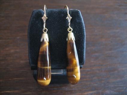 prächtige Ohrringe Hänger schimmernde Tigerauge Pampeln 925er Silber gold NEU