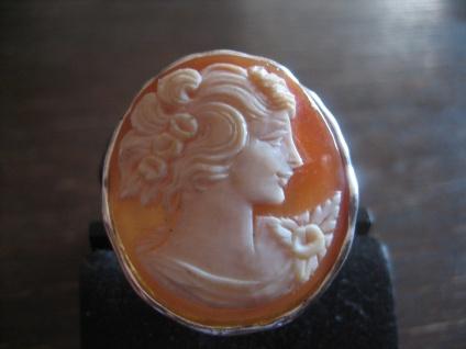 exquisite große Muschelgemme Cameo Kamee Ring Porträt 925er Silber verstellbar