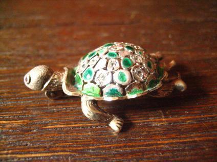 super niedliche Schildkröte vintage Brosche 925er Silber Emaille plastisch - Vorschau 4