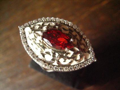 traumhafter 925er Sterling Silber Ring Emaille Zirkonia Granat Stein Barock Stil