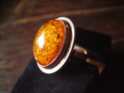 herrlicher klassischer Art Deco Bernstein Ring 835er Silber 18, 75 mm RG 59